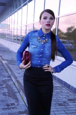 Women's Blue Denim Shirt, Black Midi Skirt, Dark Purple Leather Clutch, Gold Necklace