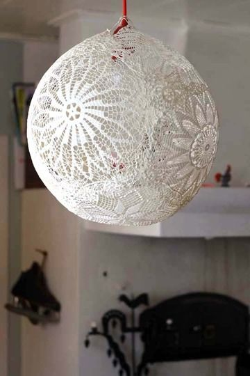 hanging lace lamp: hang blow up balloon, place paper under to prevent drips, (paper mache paste: 3/4 white glue to 1//4 h2O; 1 part flour to 5 part H2O, boiled then leave to cool; 1 part flour to 1 part H2O, stirred). soak doilies in paste; layer doilies on balloon; let dry (1-7 days) until rigid; pop balloon, cut hole for bulb; insert low heat bulb, CFL or LED light socket