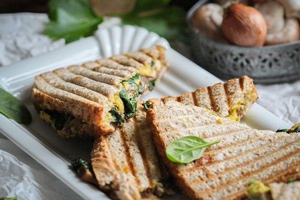 Spinat-Champignon-Sandwich