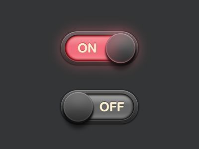 "Very ""skeumorphic,"" or realistic-looking, toggle buttons. The ""on"" setting looks like it is really glowing."