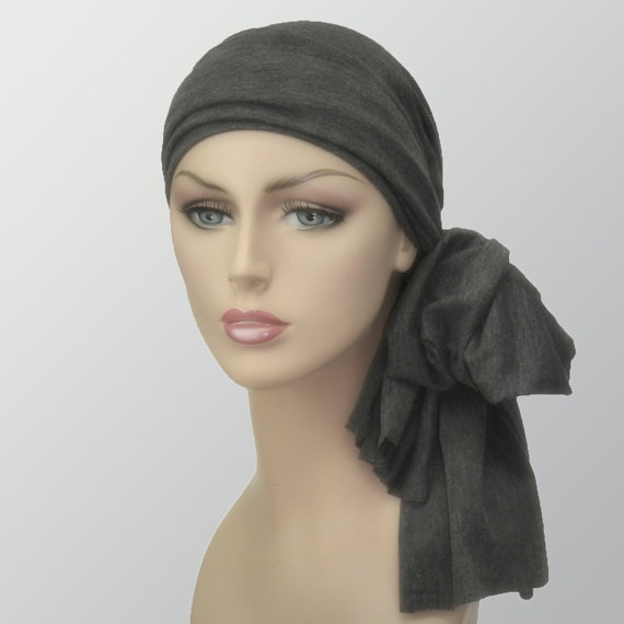 Head Wrap Turban Alopecia Chemo Head Scarf Charcoal Gray - super soft