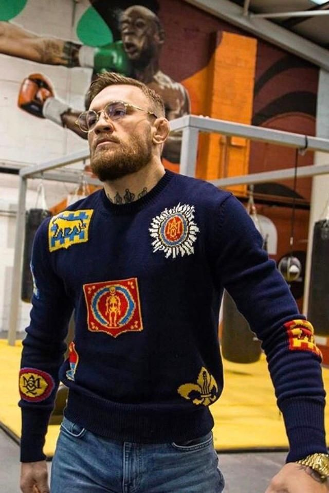0a1cc69dd0d0 Conor at the gym with a ALEXANDER MCQUEEN badge intarsia jumper ...