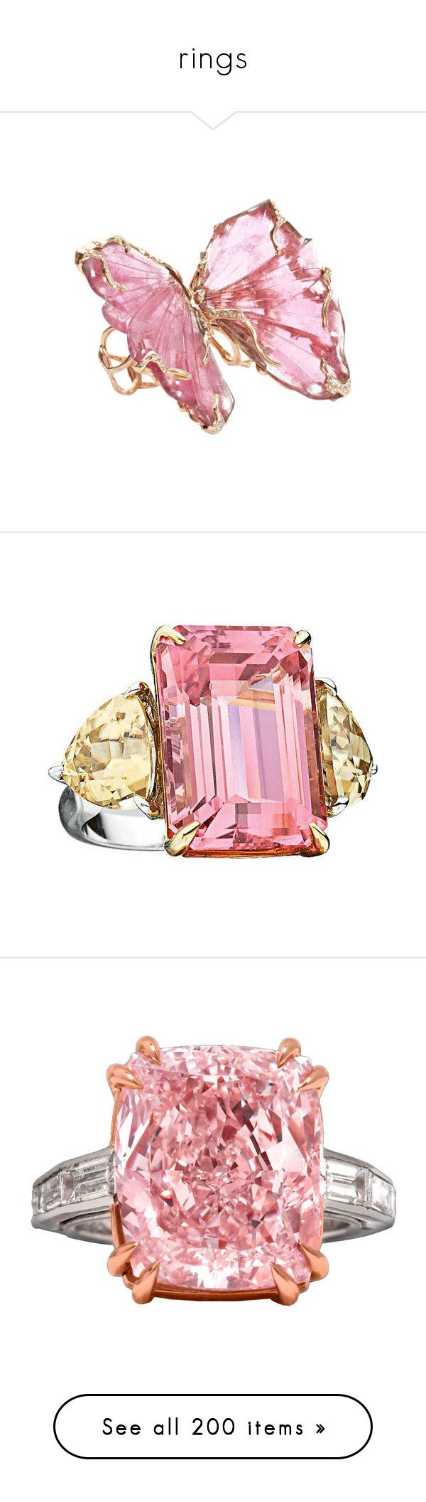 """rings"" by happi-katz ❤ liked on Polyvore featuring jewelry, rings, rubellite ring, pink tourmaline jewelry, butterfly ring, 18 karat white gold ring, pink tourmaline ring, sormukset, cocktail rings and 18k yellow gold ring"