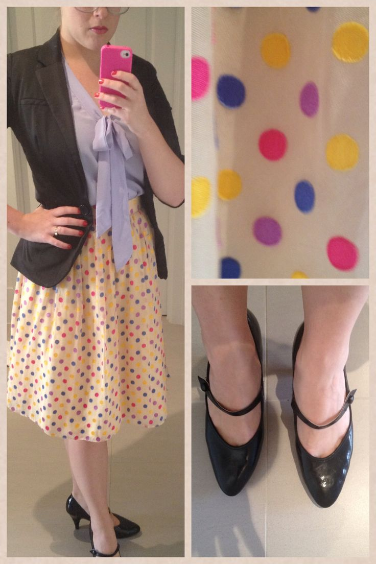 Day 29: Parisian skirt with old blazer and shirt. Vintage shoes.
