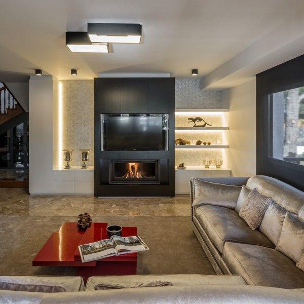 iluminacion salon chimeneas modernas salon comedor pared tv centro iluminacin interior estufas escalera comedores