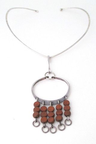 Anna Greta Eker Plus Designs Norway vintage modernist silver & wood kinetic large pendant & neck ring