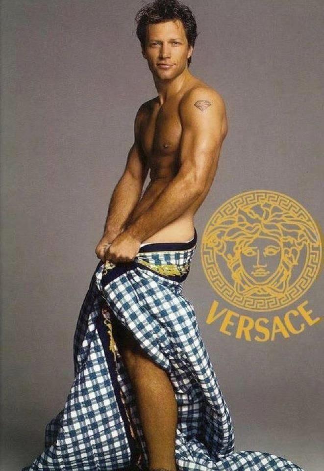 Jon Bon Jovi modeling for Versace at 50 years old.  Happy Birthday!