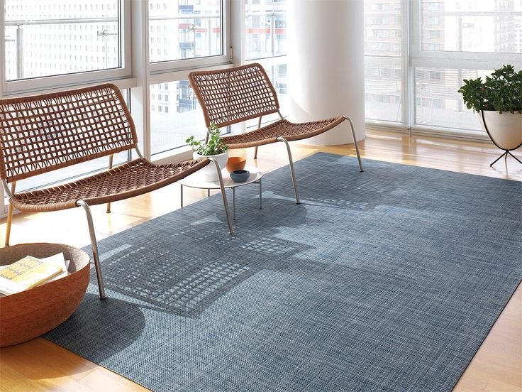 Basketweave Woven Floormat in Denim Living room