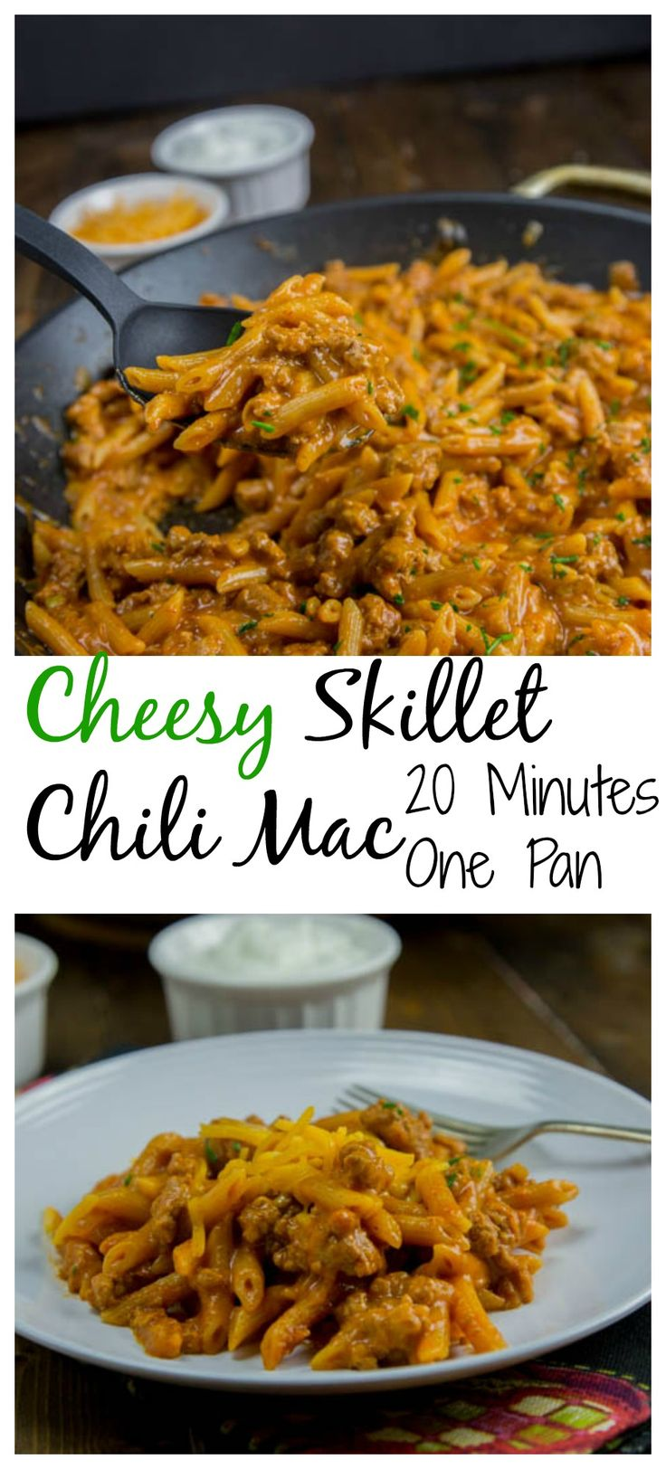 Cheesy Skillet Chili Mac - Two comfort foods come together in a one skillet dinner the whole family will love.  Plus it is ready in only 20 minutes!