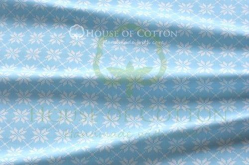Bawełna turkusowo-białe kwiaty haft