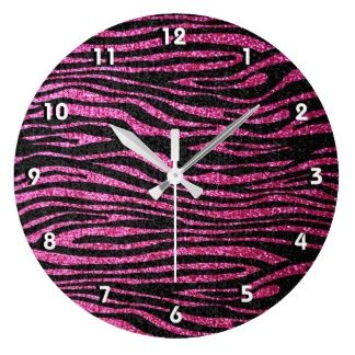 Pink and Black Zebra Print bling (faux glitter) Wall Clocks