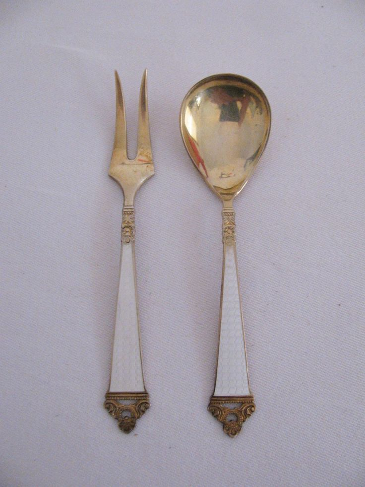 Vintage Nils Hansen Norway Odel Pattern Gold Wash Vermiel Sterling Silver Cocktail Fork and Condiment Spoon in White Guilloche Enamel by Snootyparrot on Etsy