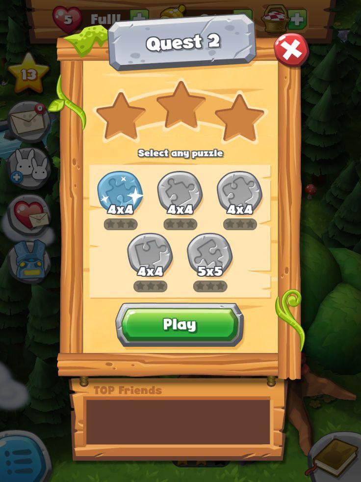 Forest Home | Quest Levels| UI, HUD, User Interface, Game Art, GUI, iOS, Apps, Games, Grahic Desgin, Puzzle Game, Maze Games, Brain Games | www.girlvsgui.com