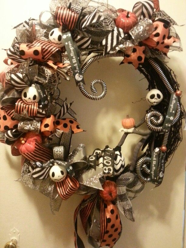 halloween wreathnightmare before christmas wreath jack skellington wreath - Tim Burton Halloween Decorations