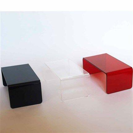 compra miniaturas modernas Mesa de café acrílica transparente para casas de muñecas