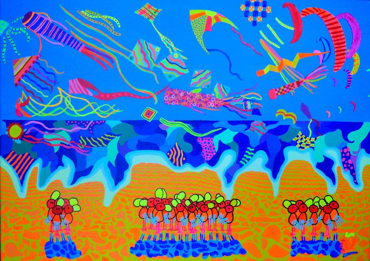 """Kites"". Inspited by a unique colorful summer West French coast moment. Sizes: 19.7 - 27.6 inch (50 - 70 cm). #color, #kites, #kite, #coast, #beach, #birds, #painting."