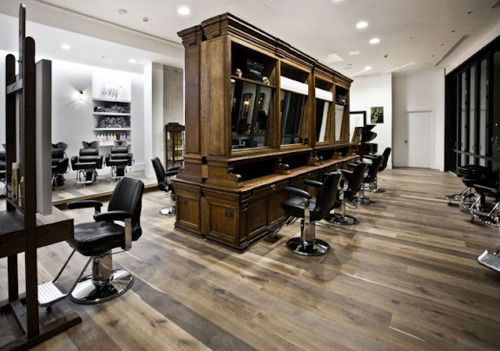 hair salon stylin.. LOVEHair Salons, Salons Decor, Guys Style, Wooden Floors, Wood Floors, Barbershop, Barbers Shops, Beautiful Salons, Ade Phelan