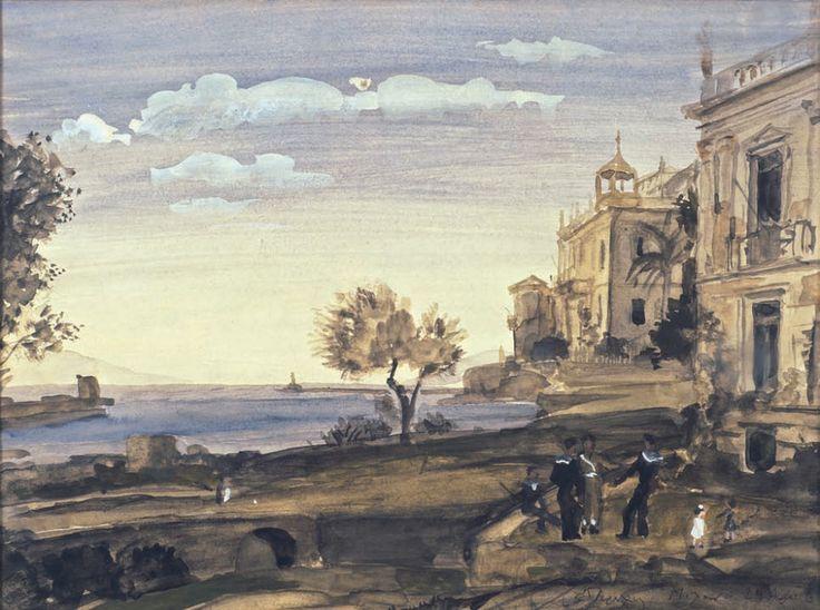 Τσαρούχης Γιάννης-Ναύτεσ σε παραλία με νεοκλασικά, 1965 – Yannis Tsarouchis [1910-1989] | paletaart – Χρώμα & Φώς