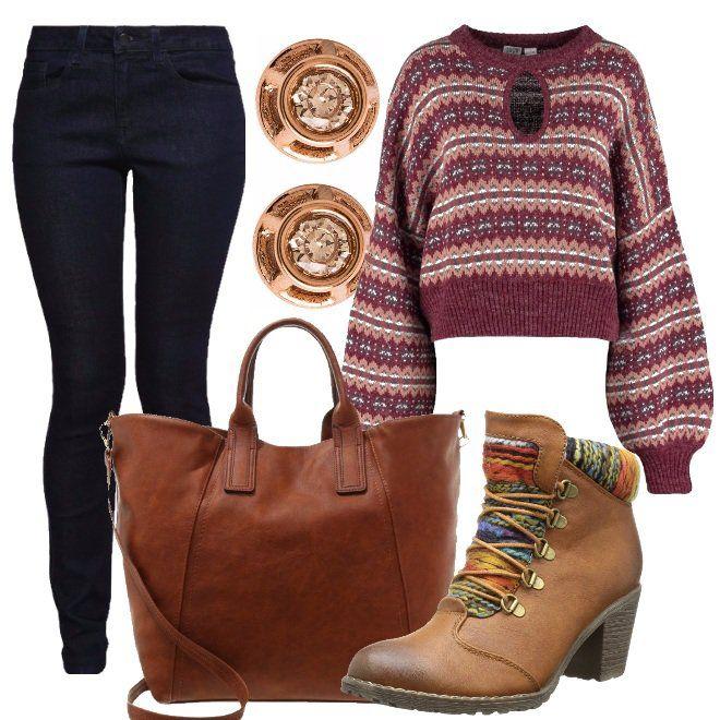 Outfit+caldo+e+colorato+per+una+passeggiata+all'aria+aperta+in+una+bella+giornata+autunnale.+Maglia+doppio+colore+abbinata+a+jeans+e+a+splendido+stivaletto+cognac+con+applicazioni+multicolore.+Lo+trovo+davvero+particolare+e+rende+il+nostro+look+comodo+ma+ricercato.+La+shopping+bag+è+sempre+sui+toni+del+marrone,+bellissima+abbinata+al+jeans+denim.+Unico+gioiello+i+piccolissimi+orecchini.