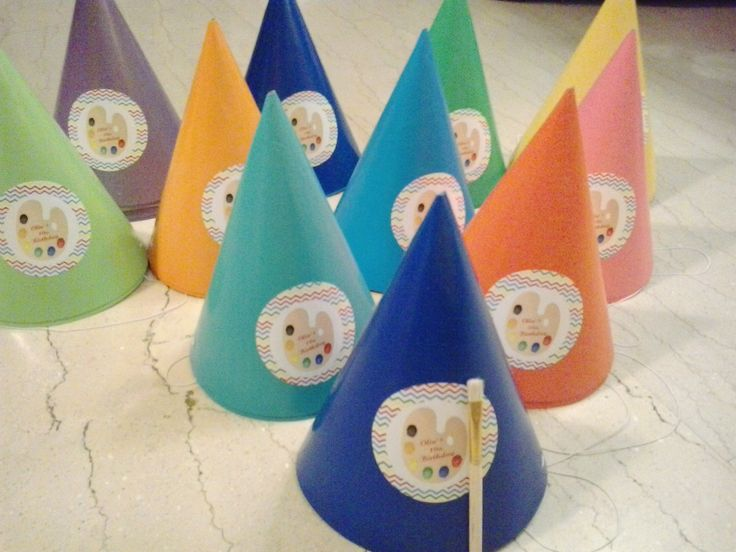 rainbow paper party hat  art party