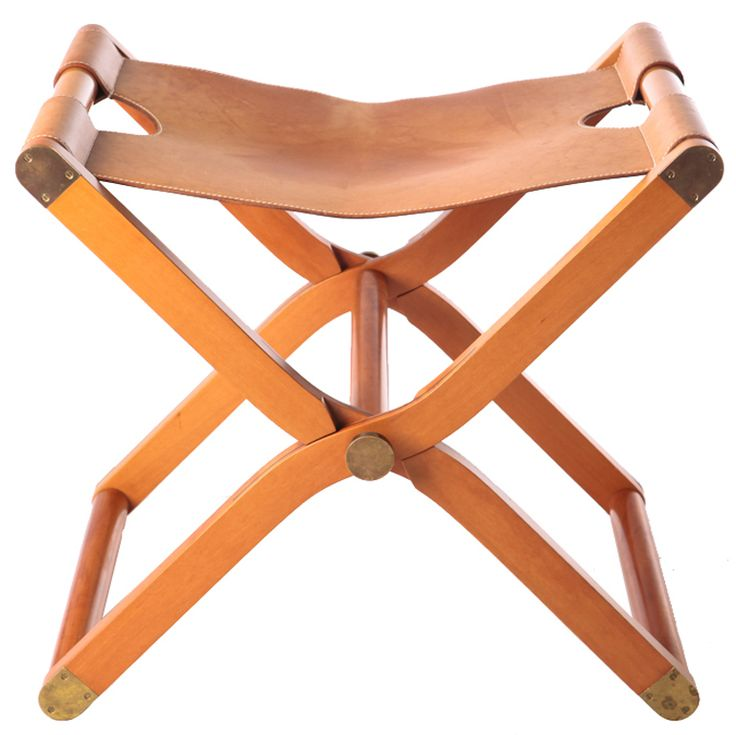 """Hermes """"Pippa"""" Leather Campaign Stool"""