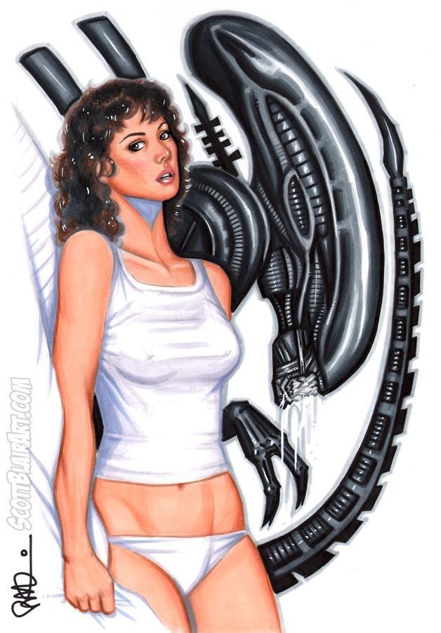 Ripley & Alien by Scott Blairart.com