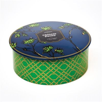 The line-up boasts alluring fragrances and multiple products, including this three-wick candle in a decorative tin with lid and Chinoiserie accents. This 12-ounce candle has a 70+ hour burn time and is hand-poured.