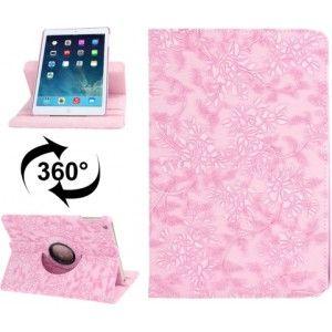 Ik vond dit op Beslist.nl: 360 graden draaiend Embossed Flower patroon lederen hoesje met 2 Gears houder & slaap / wekker functie voor iPad Air (roze)