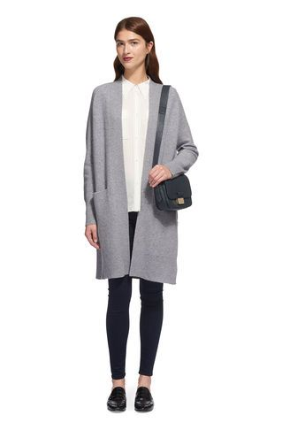 Boiled Wool Knit Cardigan, in Grey Marl on Whistles