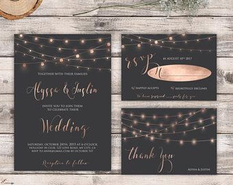 Rose Gold Wedding Invitation Printable Elegant Wedding Invitation Suite Modern Wedding Invite Simple Pink Grey Wedding Set Digital / Printed