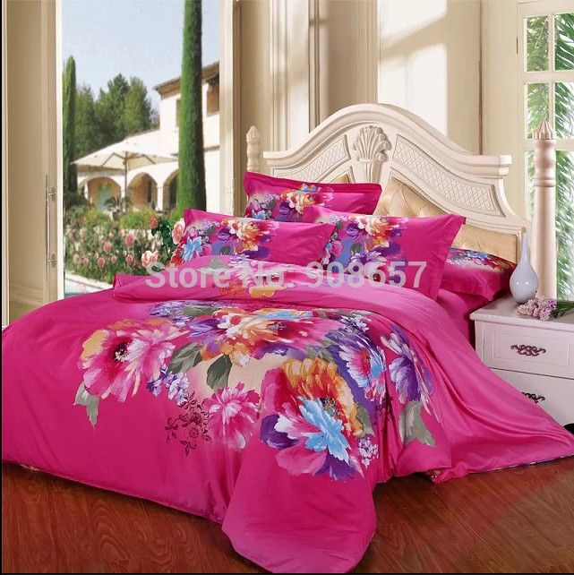 magenta luxury floral printed 100 cotton bed covers sets girls home decor fullqueen king size bedding wedding