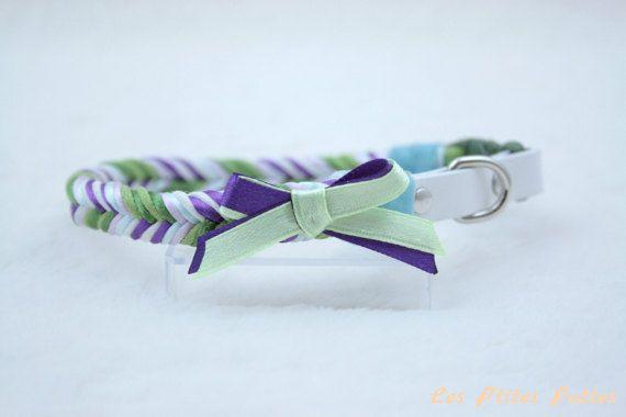 Collier pour chien tressé vert violet blanc
