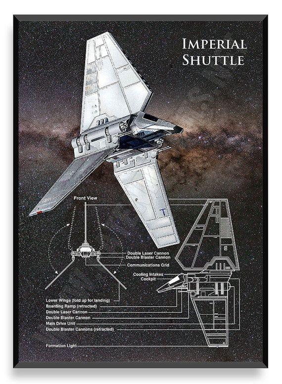 Lanzadera Imperial nave de Star Wars Star por PatentPrintsPosters