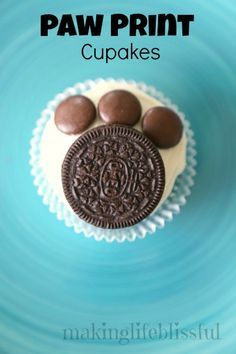Easy puppy cupcakes or paw print pupcakes. Adopt-a-Puppy Party and Picnic