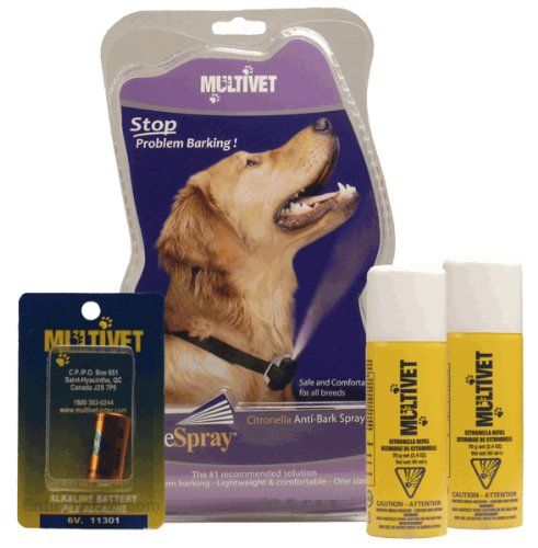 Multivet Anti bark Valuepack Collar, Mix 2 Refills, scentless   citronella, 3 Batteries