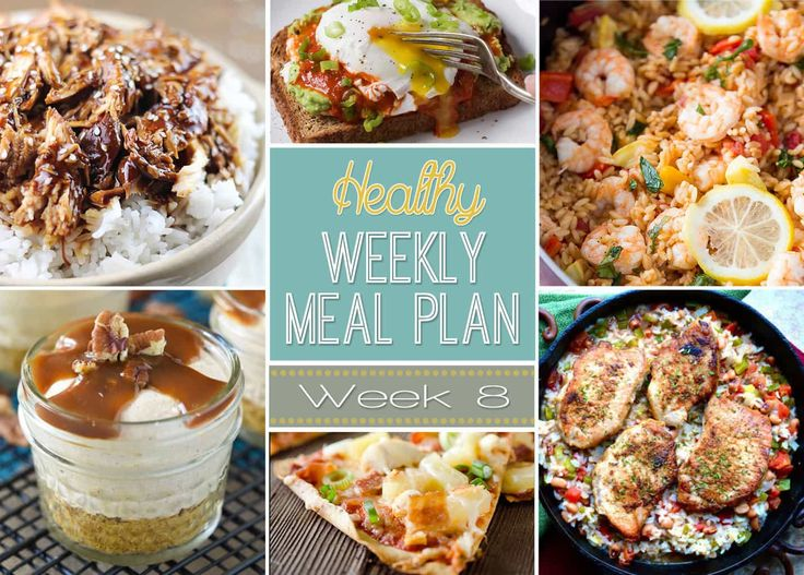 Healthy Weekly Meal Plan Week #8 - delicious and healthy breakfast, lunch, dinner, breakfast and snack recipes all put into one easy menu for you to use for the week!