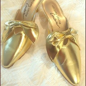 Jacques Levine Couture Gold Slippers