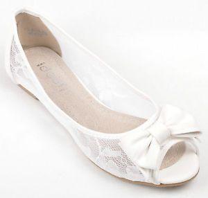 Off White Lace Wedding Peep Toe Ballerina Bridal Flat Pumps UK 3 4 5 6 7 7 5 8 | eBay