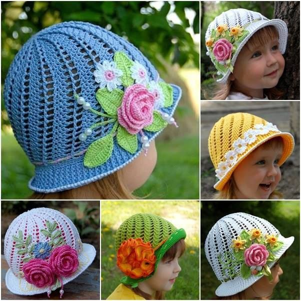 How to crochet a child's sun hat with instructions and video.  Also shows how to crochet flowers.