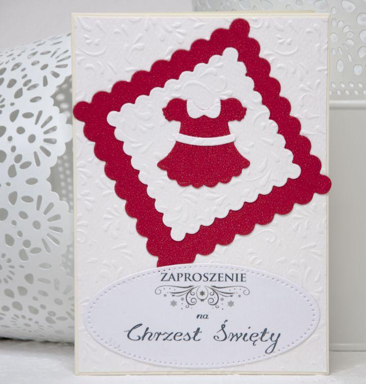 Kartka zaproszenie na Chrzest Święty o wymiarach 10,5x14,8 z czerwoną sukienką.
