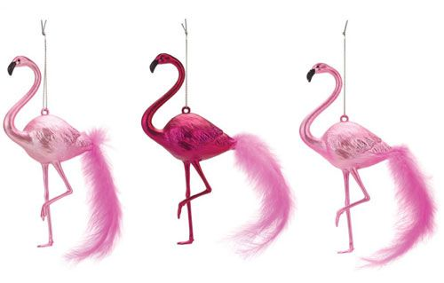 Christmas kitsch: Pink Flamingo decorations at Paperchase