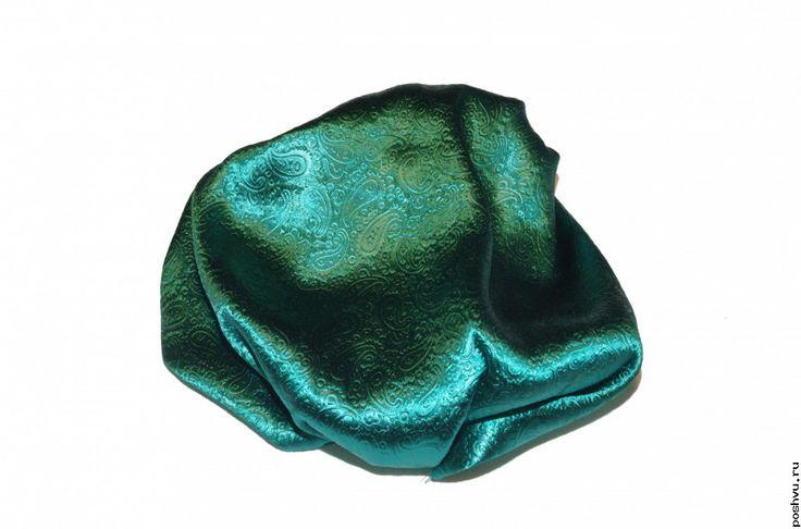 Темно-зеленый атлас жаккард