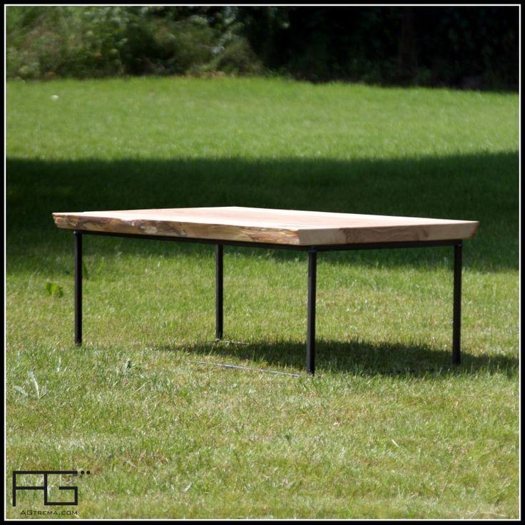 Table basse Axis type industriel en bois massif, bords brut, Live Edge et acier brut Artisanat  # Table Basse Bois Massif Brut