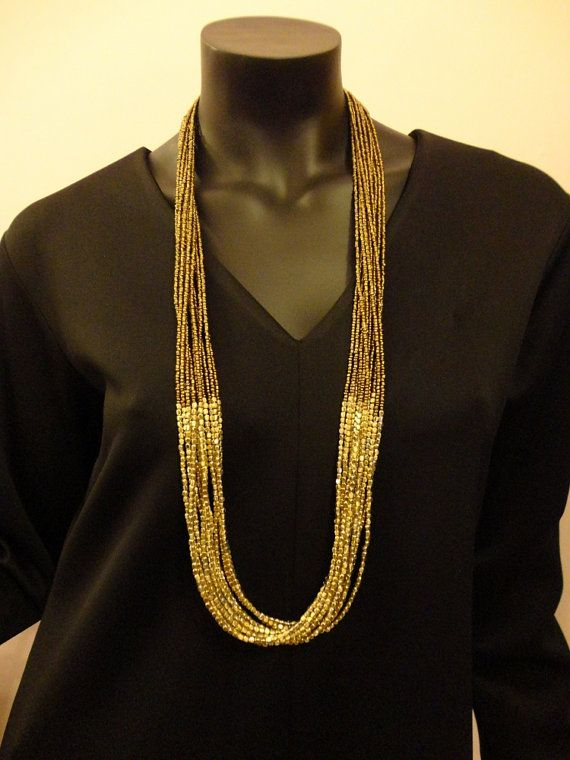 Handmade Long Golden Beads Necklace by OMyGlam on Etsy