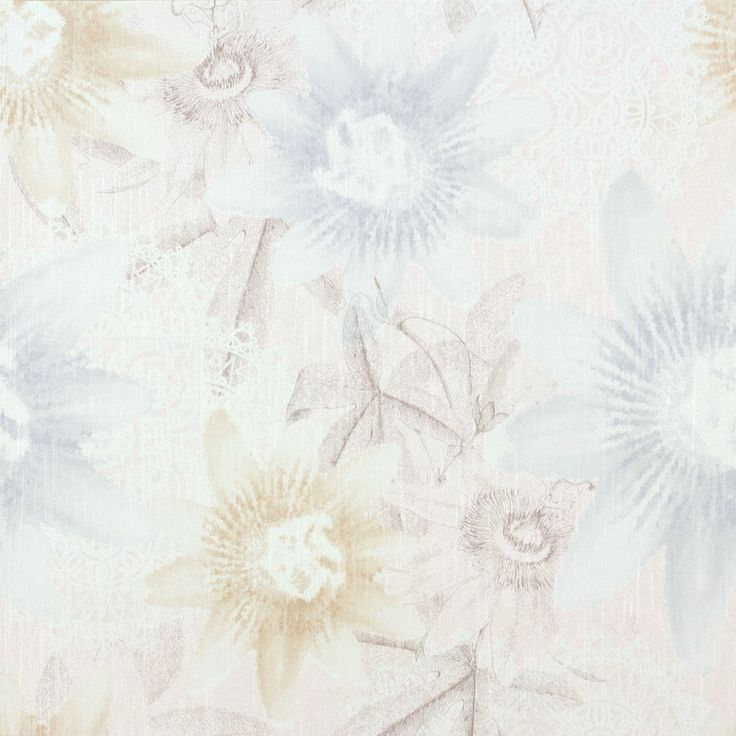 Tapete GMK Blumen Vintage Hellblau Beige 02488-20