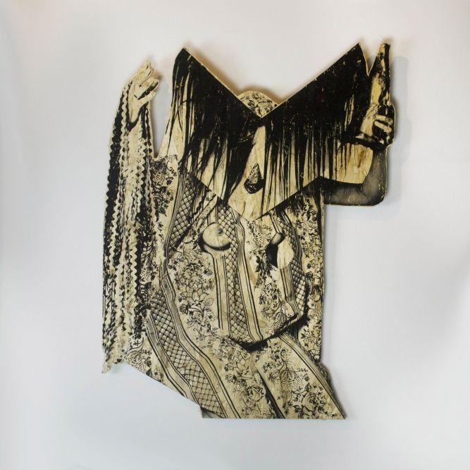 "Contemporary Spirit Regalia, from Thunderstruck installation, Jeneen Frei Njootli (Vuntut Gwitchin), Silkscreen print on chipboard, 37"" x 28"" x 1"""