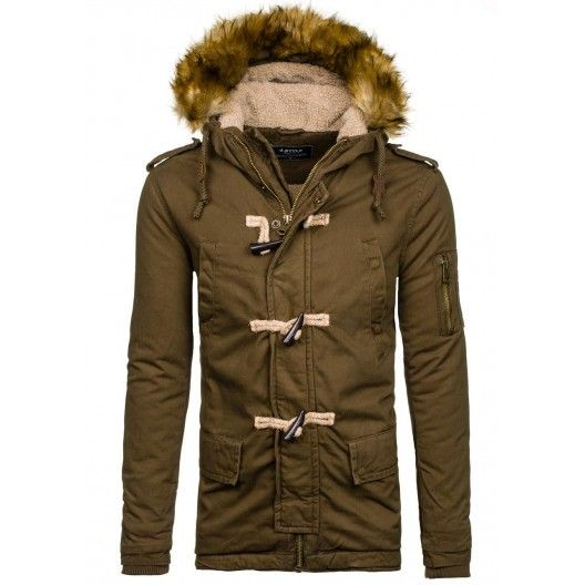 Khaki pánska zimná bunda s kapucňou - fashionday.eu