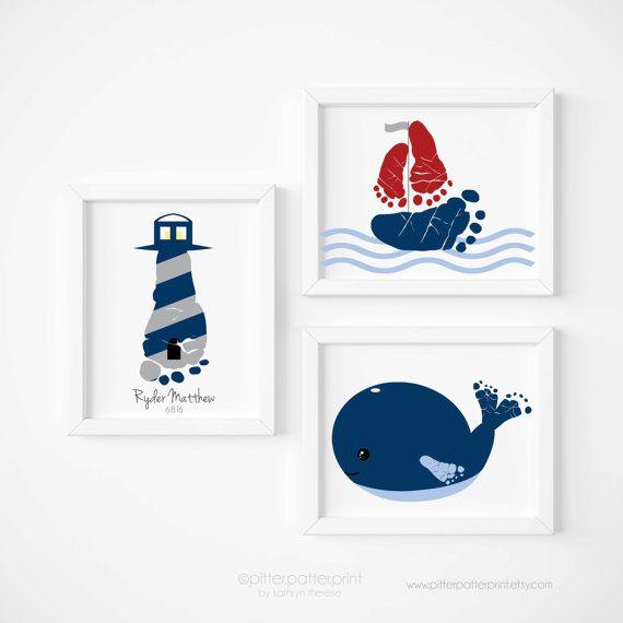 Nautical Nursery Art Print Set Baby Footprint von PitterPatterPrint