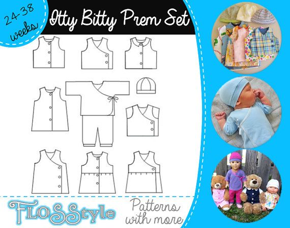 ITTY BITTY INFANT Pattern Newborn & Premature Prem by Flosstyle