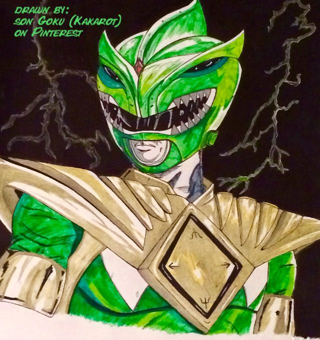 """""""Go Green Ranger Go!"""" Drawn by: Son Goku (Kakarot) on Pinterest! I deeply enjoyed coloring this image. Probably one of my best coloring jobs I've ever done. So, I'm exceptionally proud of this piece. This was also the first serious Power Ranger image I've ever drawn as well. So I hope you all enjoy! ✌ #SonGokuKakarot"""